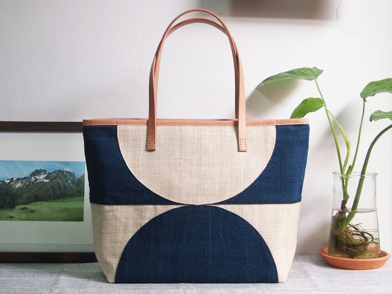 Large Tote Bag : Fabric Collage Series : Half Moon-Indigo
