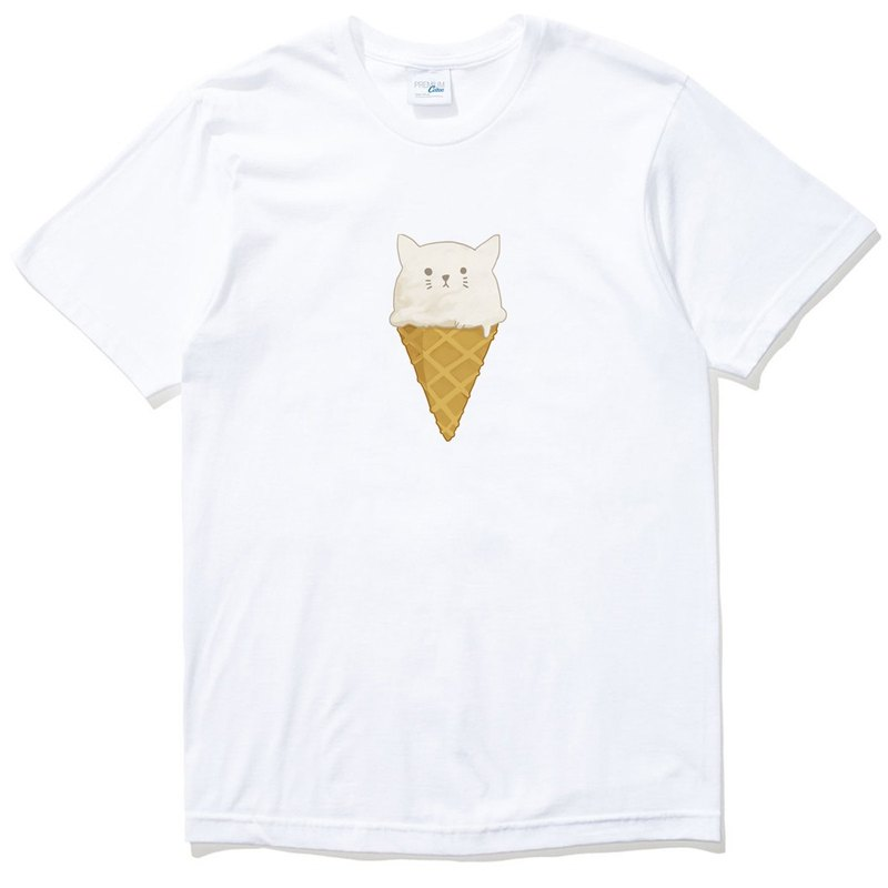 Cat ice cream [stock] men and women short-sleeved T-shirt white hair animal dog food own brand Wen Qing