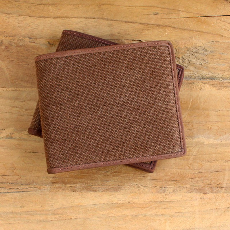 Leather Wallet - ฺBifold Canvas - สีน้ำตาล(Canvas&Cow Leather) / 钱包 / 皮包 / 短夹/牛皮