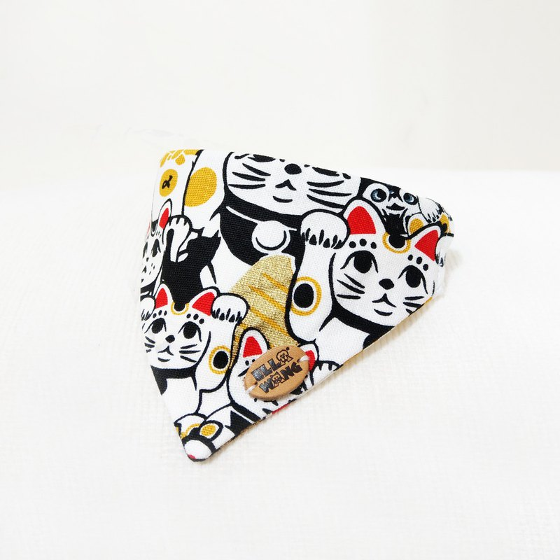 Ella Wang Design Scarf Pet Scratch Cat Lucky Cat Red White Black Scarf Cat Dog