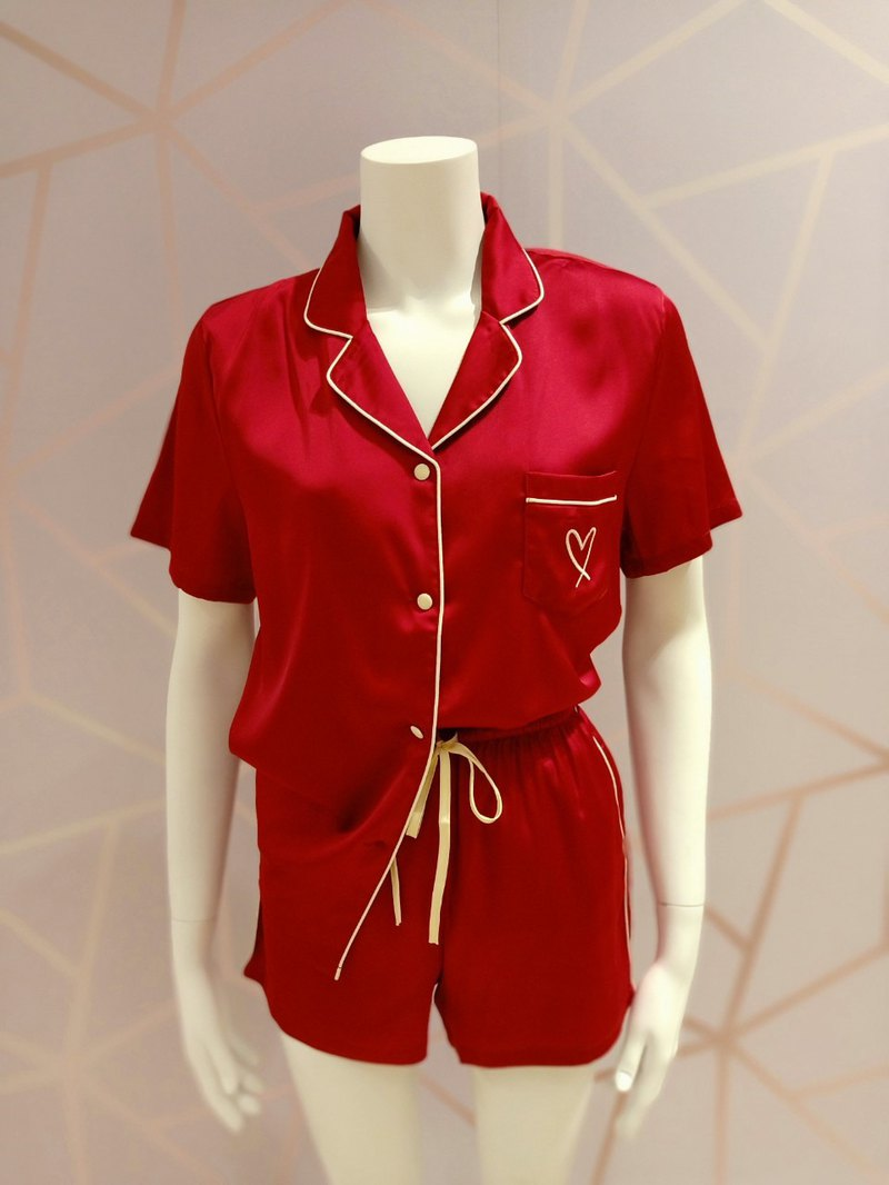 PAJAMAS - ELENA SET SHORT / RED