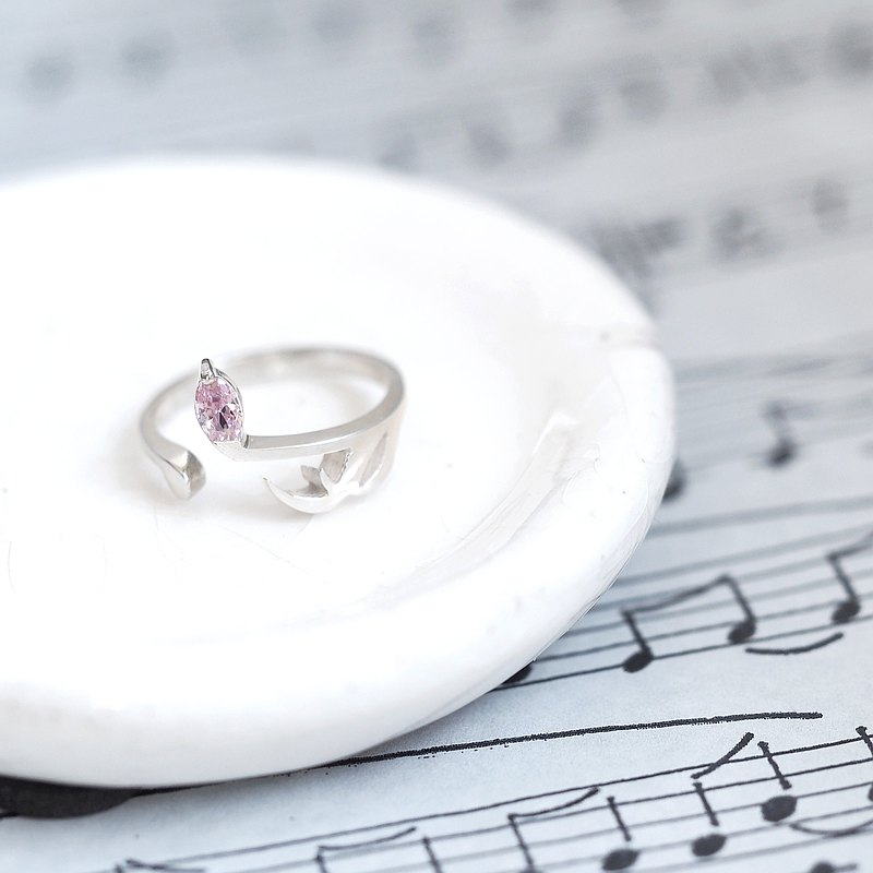 Pink 16th note ring silver 925