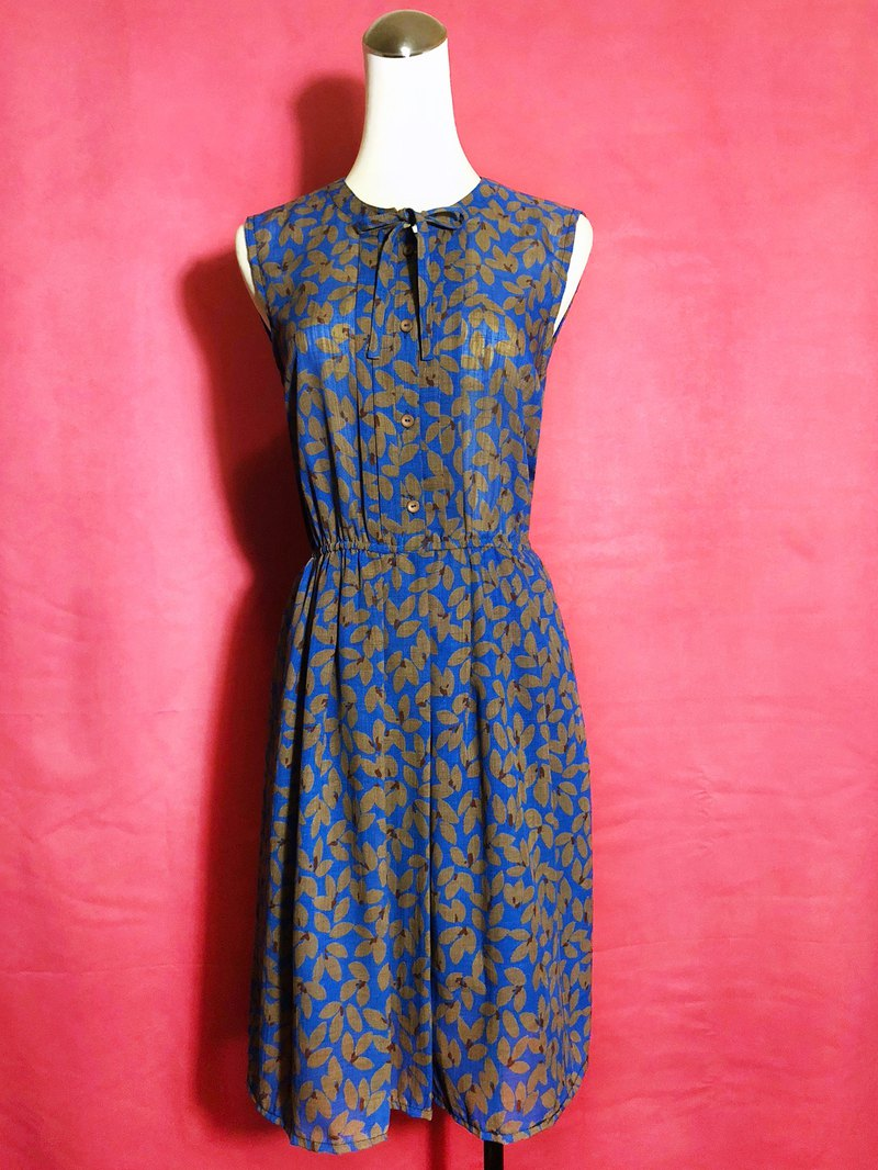Bow tie sleeveless vintage dress / Bring back VINTAGE abroad