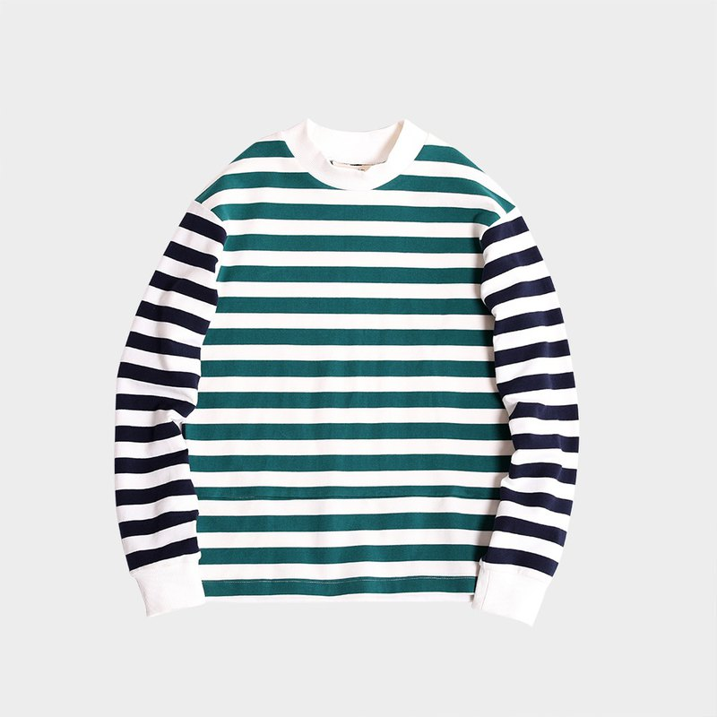 Colorblock striped crew neck long sleeve thread T-shirt