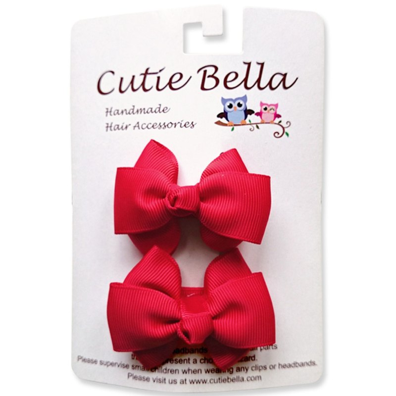 Cutie Bella Dream Handmade Hair Accessories All Inclusive Cloth Bow Hair Clips 2 into the group - Red