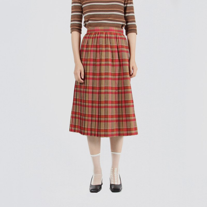 [Egg Plant Vintage] Cranberry College Plaid Thin Wool Ancient Pleated Skirt