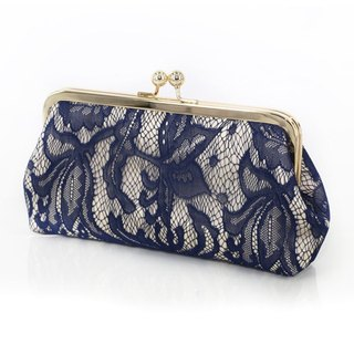 Handmade Clutch Bag in Champagne & Navy blue | Gift for bridesmaids