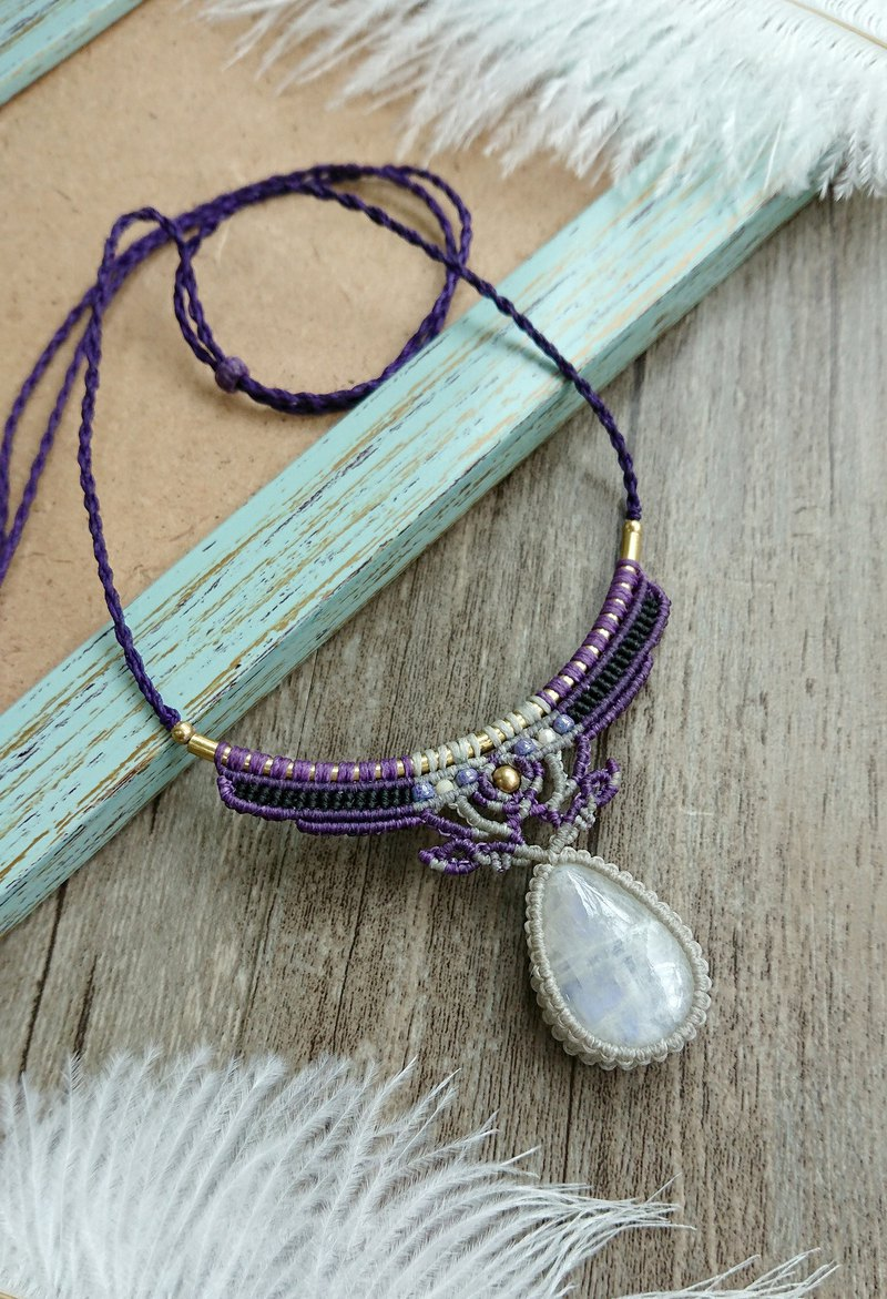 Misssheep-N105-ethnic style South American wax line woven brass stone moonstone necklace / clavicle chain