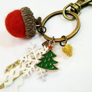 Paris*Le Bonheun. Happy forest. Christmas tree. Wool felt acorn pine cone key ring