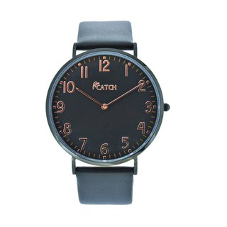 Simple stainless steel black watch