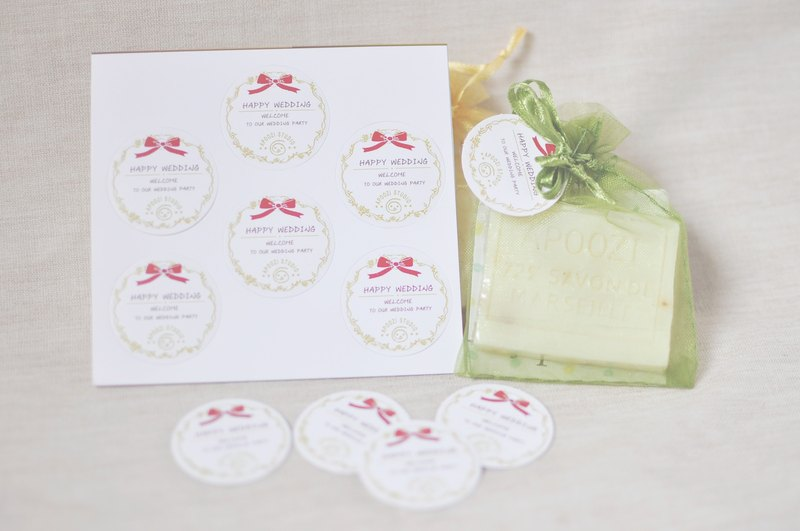 Plus purchase of goods - wedding soap stickers or tag