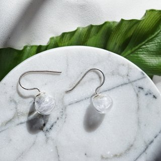 Feather Glass Bubble 925 silver Drop Earrings