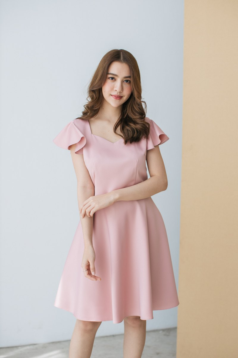 Blush Pink Dress Evening Dress Ruffle Dress Pink Party Dress Vintage Dress