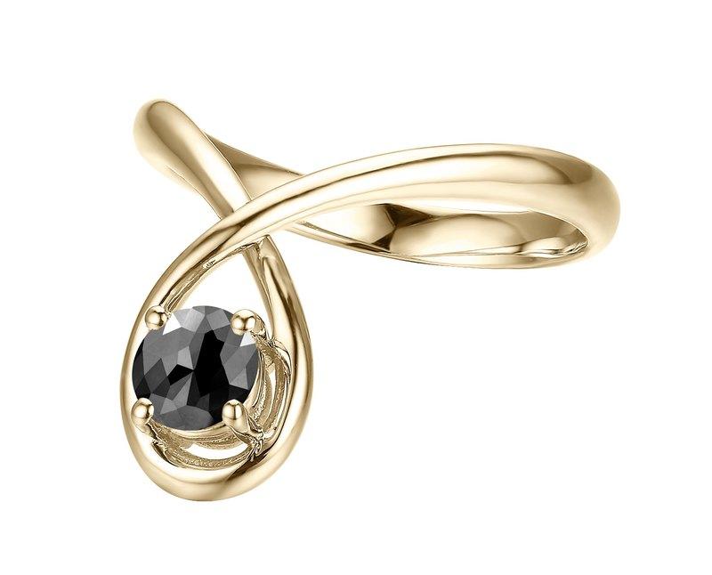 簡約黑碧璽婚戒 14K金求婚戒指 極簡主義黃金戒指 別緻結婚戒指