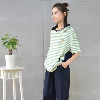 Five-sleeve striped casual hat T (green)