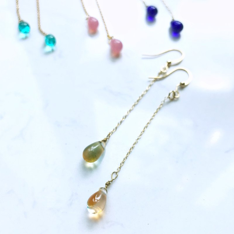 Raindrop Collection | The Droplets Earrings (Duo Color - Green & Orange)