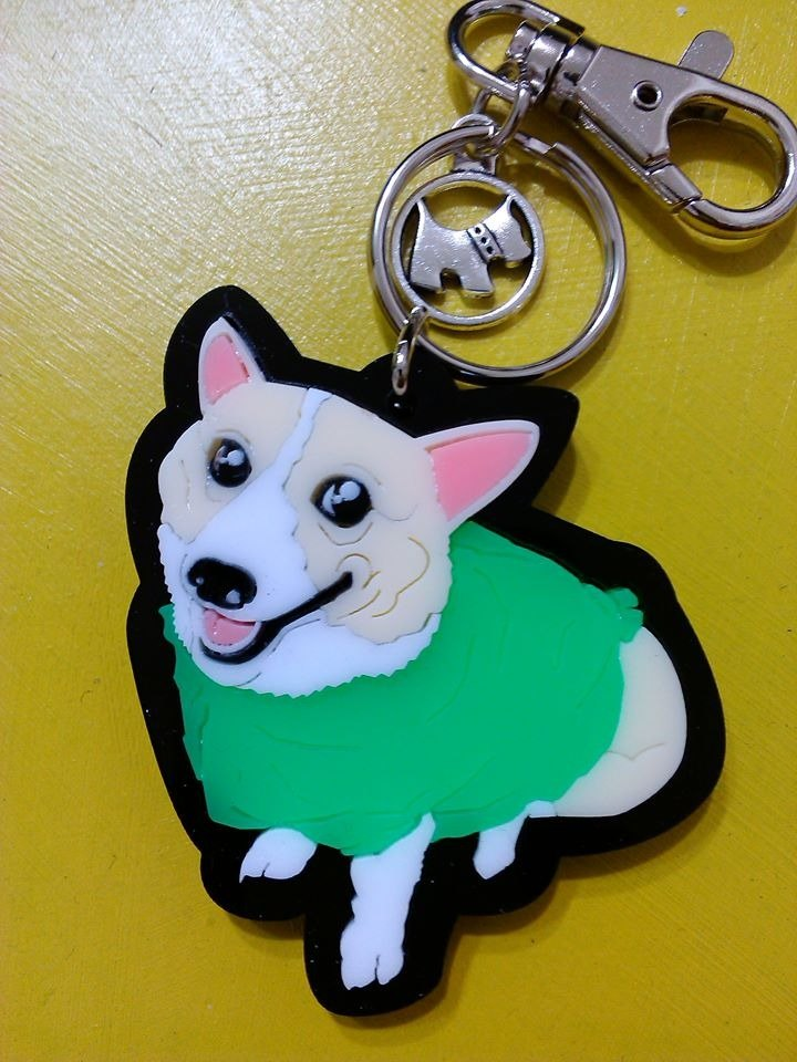 Lectra duck dog ♣ ♣ color (custom) Exclusive Boutique key ring / necklace [Corgi articles]