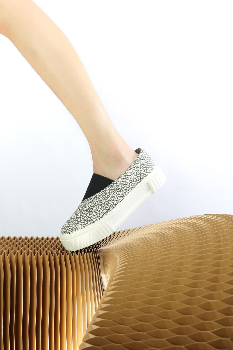 black and white elephant pattern leather sneaker