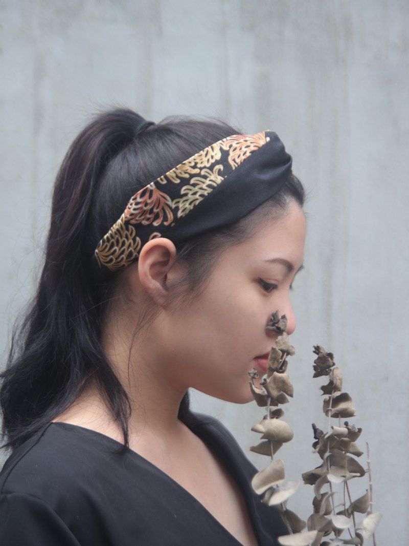 Night chrysanthemum color matching American bronzing cloth handmade cross elastic hair band