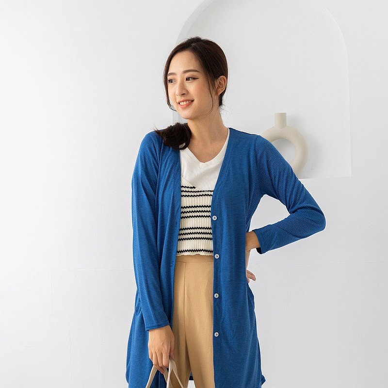 水潤白抗UV保濕長版外套-海湛藍 UV外套 涼感 防曬罩衫