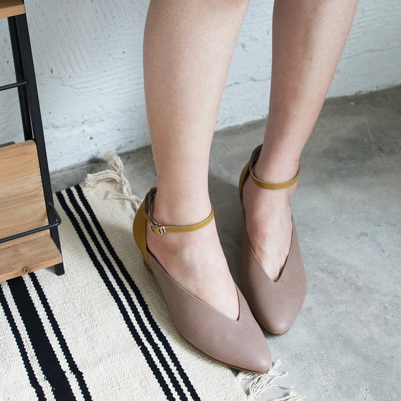 Small feet effect V-shaped lace-up heel shoes / yellow / handmade / T1-20304L