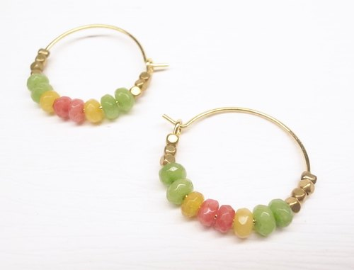 """Two silver silver"" [beaded ring earrings series - summer dessert brass ring earrings] (one pair)"
