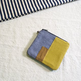 E*group square patchwork card purse earthy yellow wash cloth