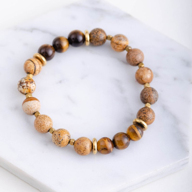 Tigers Eye Stone, Picture Jasper Brass Natural Gemstone Bracelet