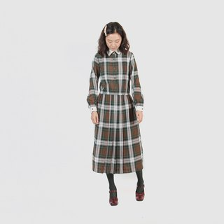 [Egg plant ancient] Mori white collar plaid thin wool vintage dress