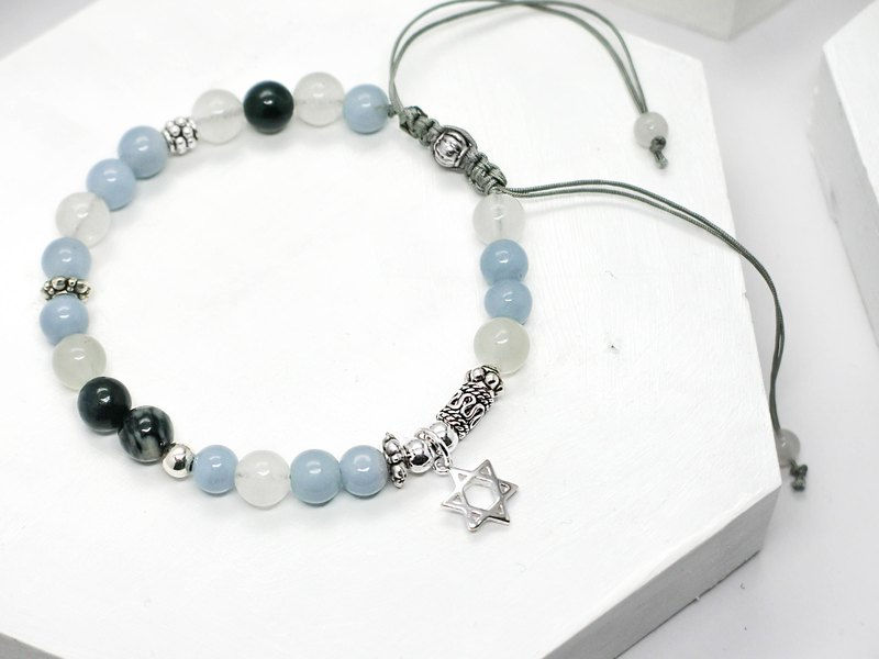 Haiyun's messenger beaded natural stone silver bracelet │ white blue gray angel stone exchange gift