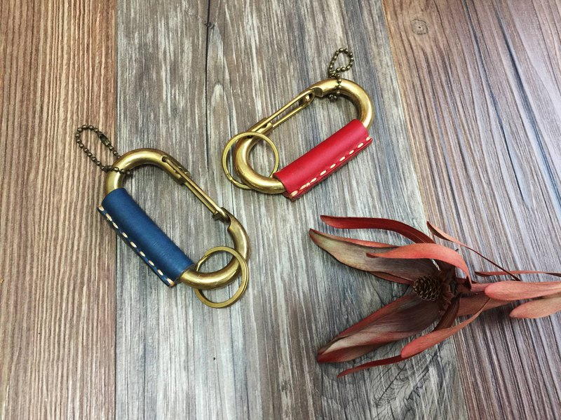 Thick leather carabiner key holder hand made brass key ring