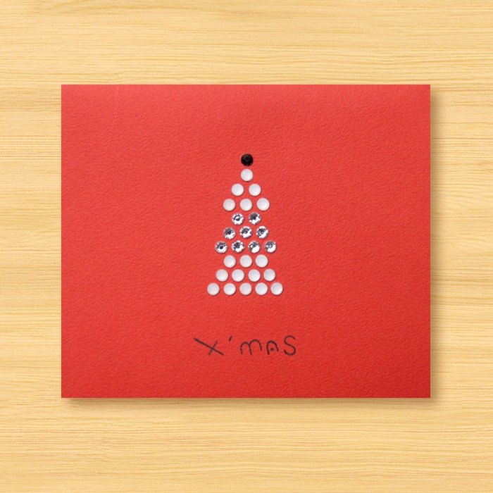 Hand-studded cards _ Christmas tree _E ... Christmas card, Christmas