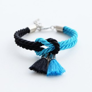Candy blue & Black knot bracelet with tassels