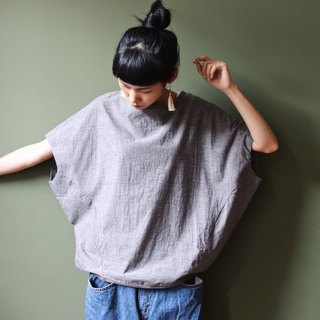 Omake Original boat collar shoulderless crab top / light grey