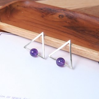 Amethyst Triangular Stud Earrings - 925 Sterling Silver Natural Stone Earrings
