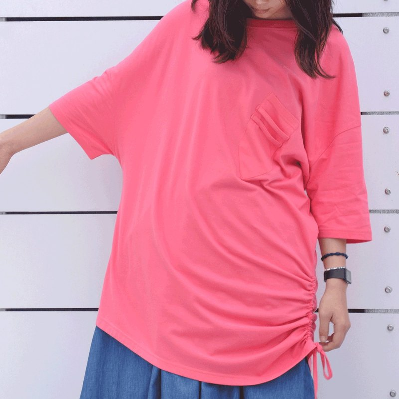 oversized drop shoulder longline t-shirt dress in pink