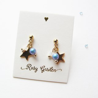 Rosy Garden le petit prince light blue pearl with little star earrings