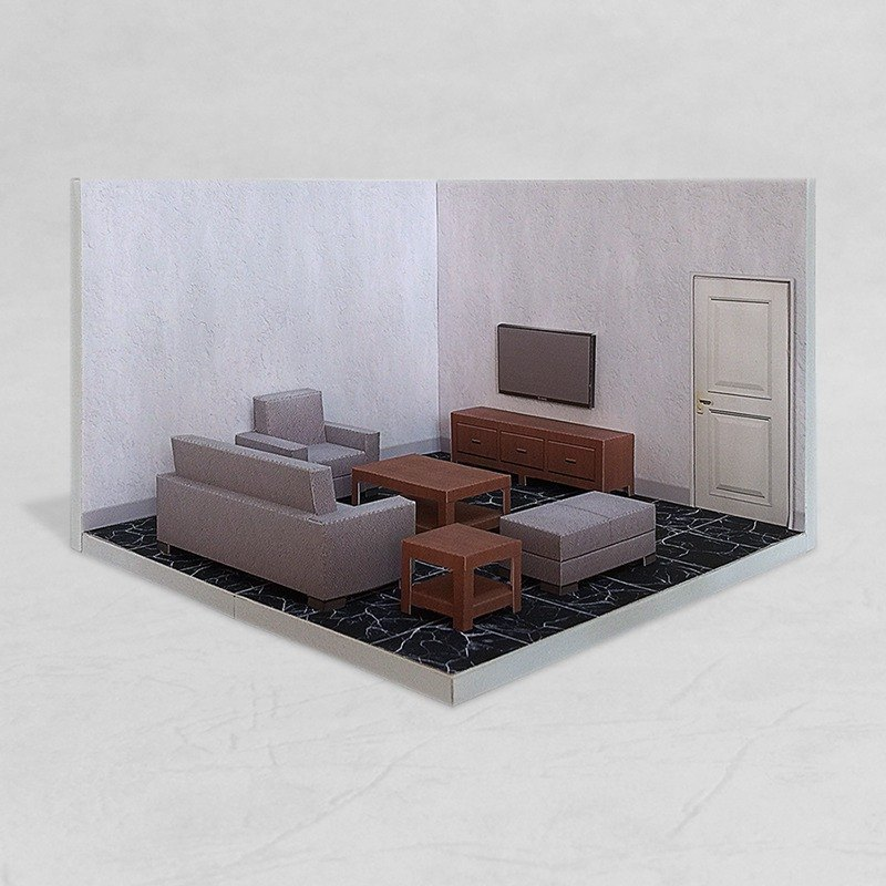 PaperCraft - Living Room #001 - DIY dollhouse paper model