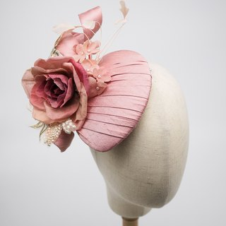 Millinery hair fascinator, tear drop hat with silk rose