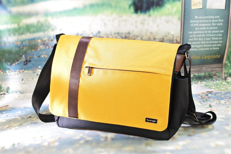 Wenqing commuter canvas bag side backpack personality bag yellow