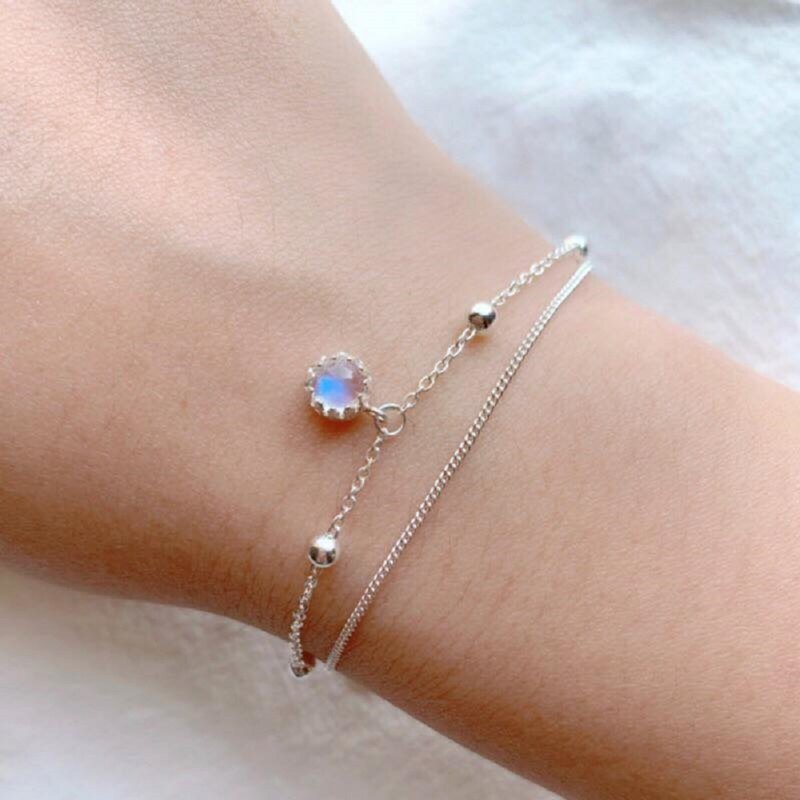 Moonstone 925 sterling silver lace double bead bracelet