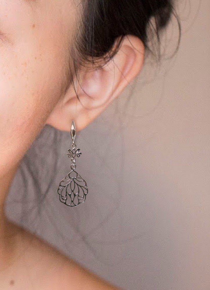 Hollow Leaf Earrings in Sterling Silver