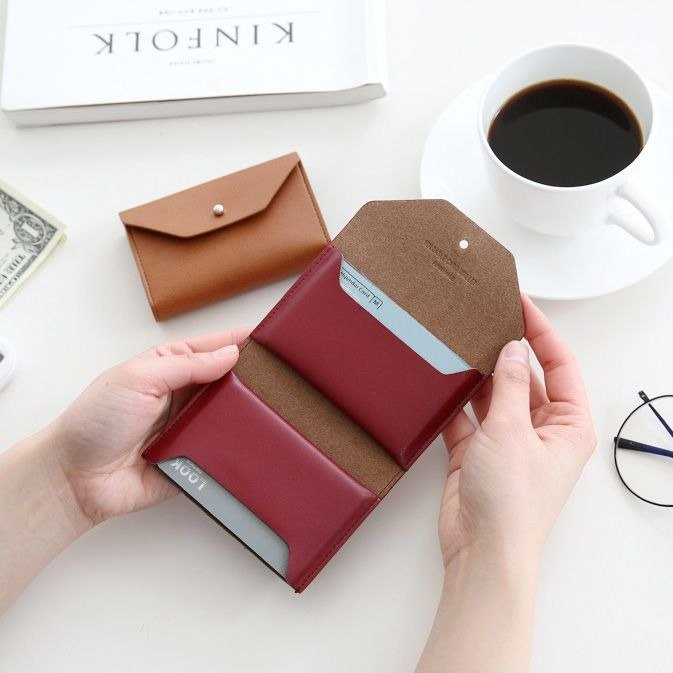 Funnymade adult imitation leather folding business card ticket holder - Burgundy red, FNM35093