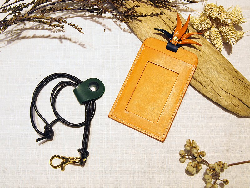 Bird of Paradise Adjustable Double-sided Straight ID Card Holder/Yoyou Card Holder-Hand Cut Hand-Dyeed Vegetable Tanned Leather