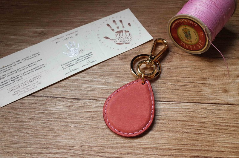 Pueblo matte leather leisure card chip pendant - drop shape model - pink