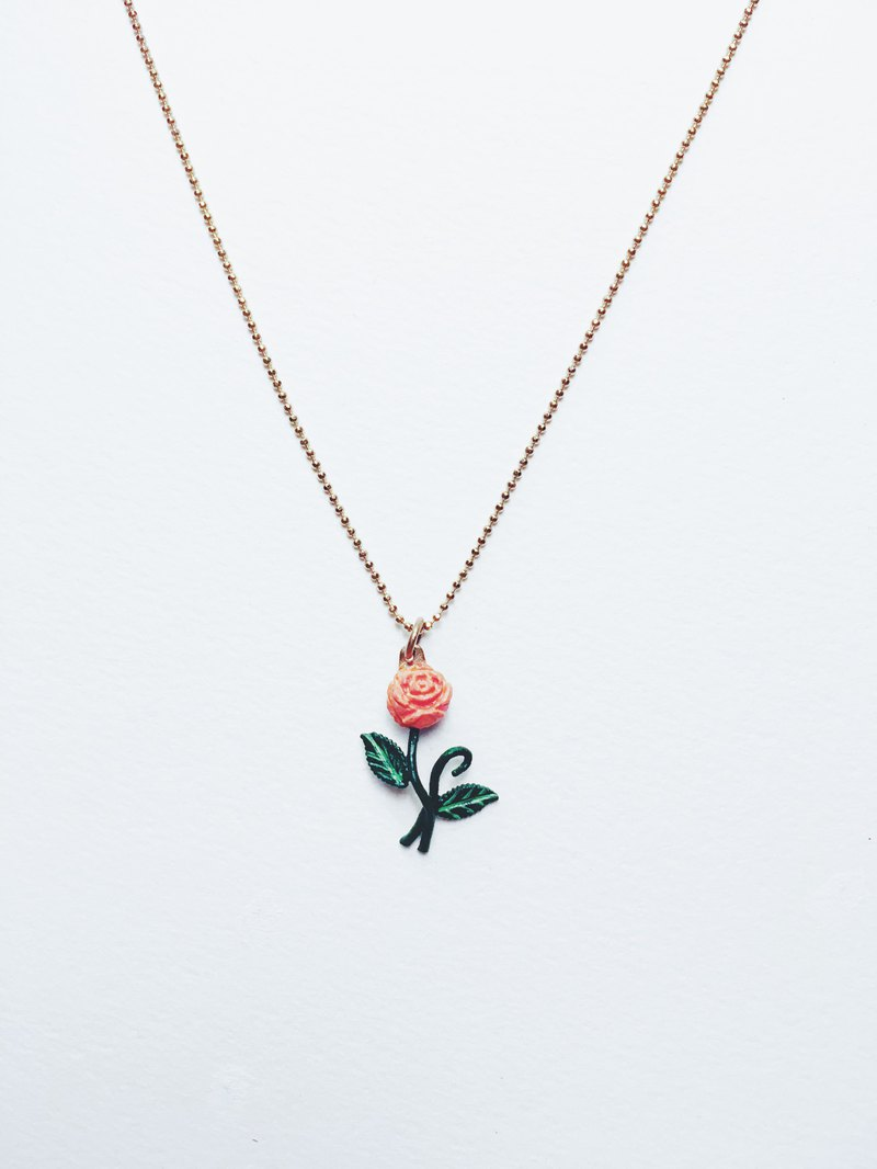 Hand-painted necklace - orange rose / small