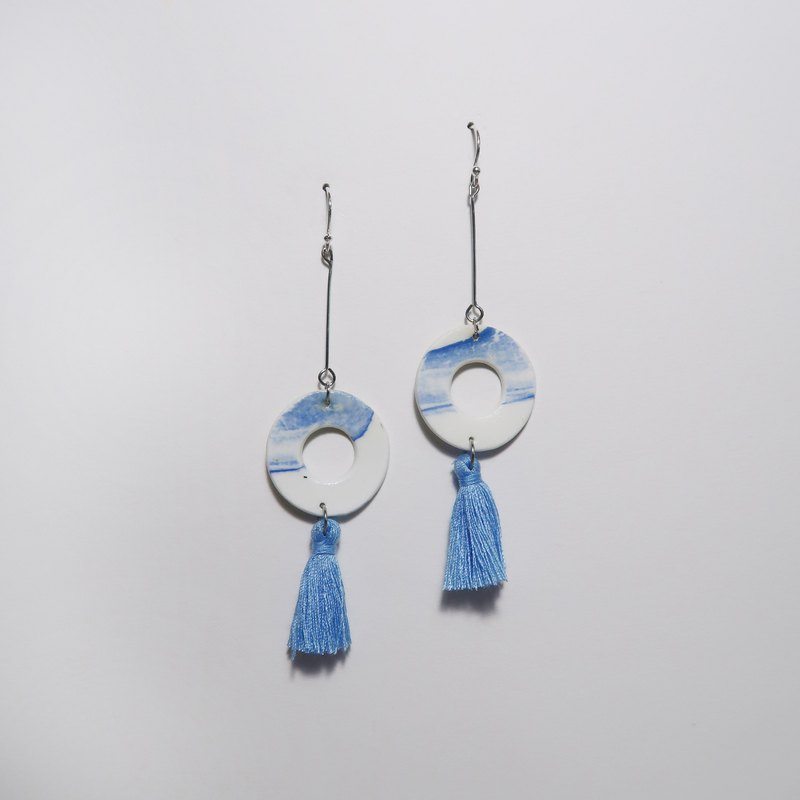 Stone Hanging Tassel Earrings - Van Star Blue (Circle)