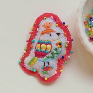 [Qy's colorful birds 02] color bird hand embroidery brooch pin gift