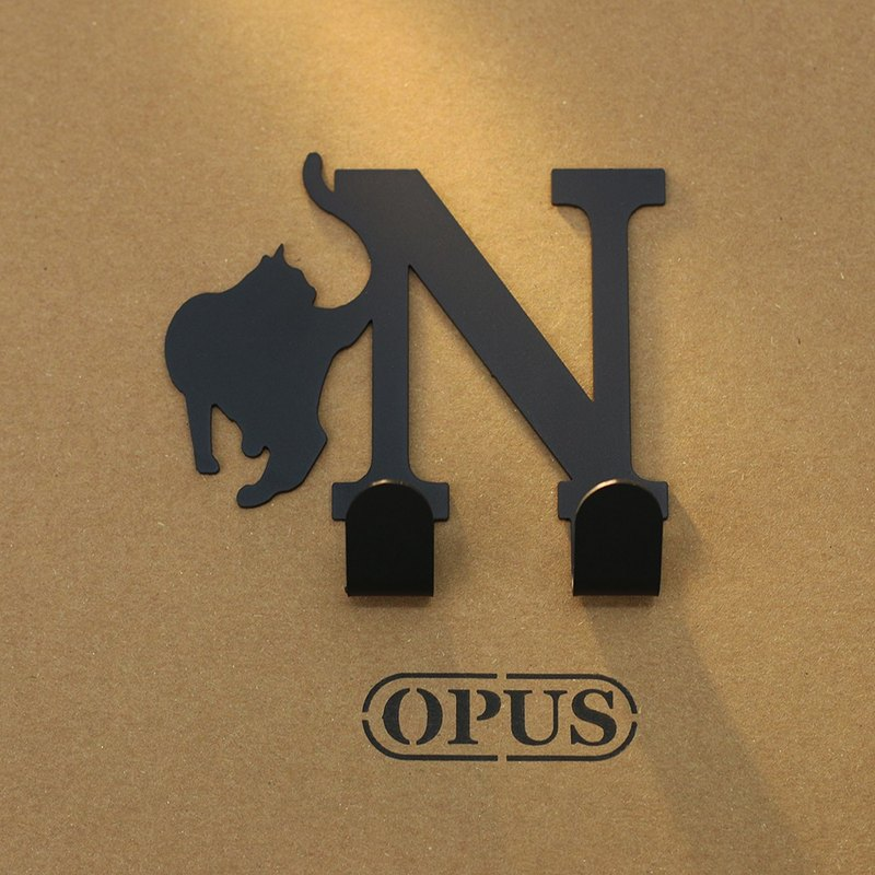[OPUS Dongqi Metalworking] When the cat encounters the letter N - hook (black) / wall hanging hook / no trace