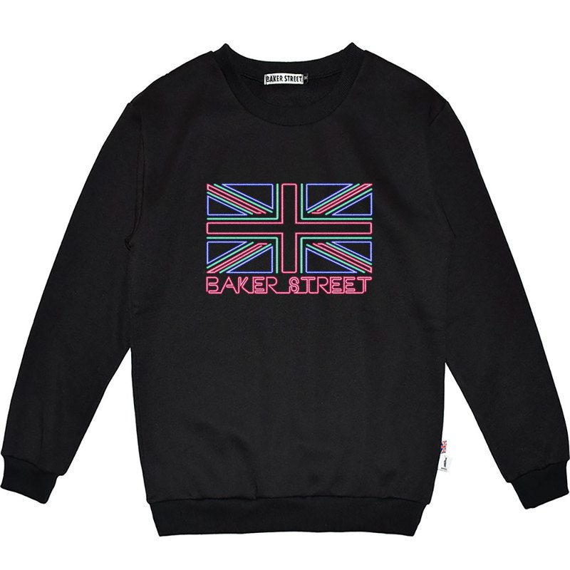 British Fashion Brand -Baker Street- Union Jack in Neon Sweatshirt